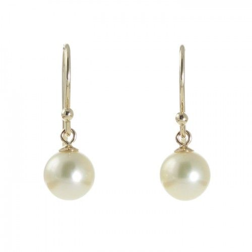 A pair of round white Australian Akoya pearl articulated shepherd's hook earrings in 9ct yellow gold with pearls measuring 7mm with a good lustre and few natural surface marks. #Rutherford #Melbourne