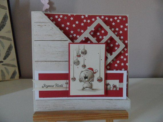 Christmas card, greeting card, card scrappee red and beige   Carte