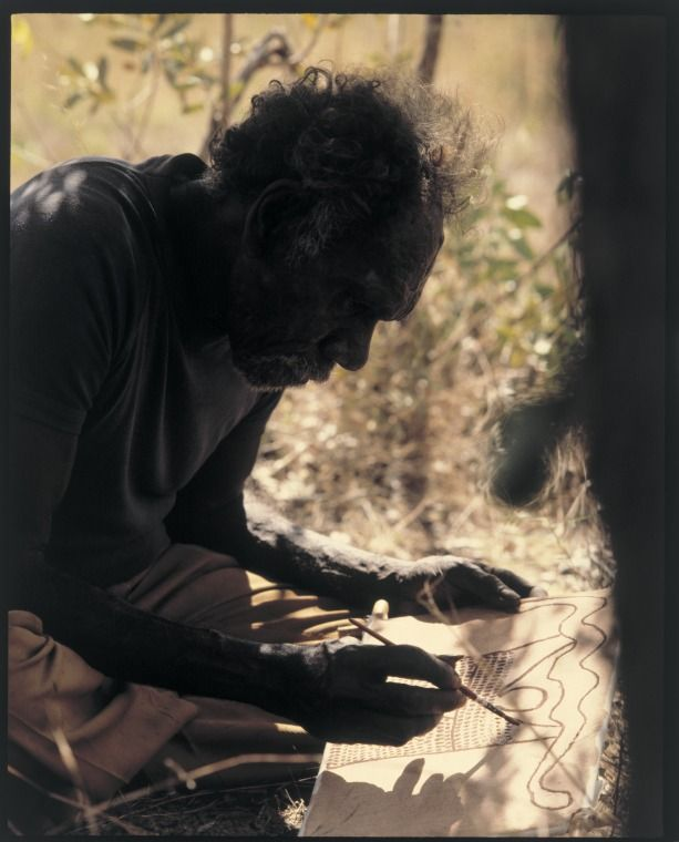 216425PD: Aboriginal man painting in the Kimberley, 1981. Photograph by Richard Woldendorp.  http://encore.slwa.wa.gov.au/iii/encore/record/C__Rb2437814__Sartists%20aboriginal%20__Ff%3Afacetmediatype%3Av%3Av%3APhotograph%3A%3A__P0%2C4__Orightresult__U__X1?lang=eng&suite=def