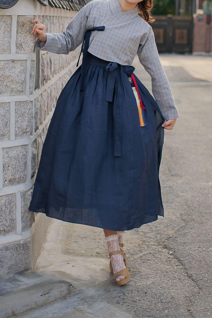 생활한복 함초롬 허리치마 진남색 : 다래원 한복
