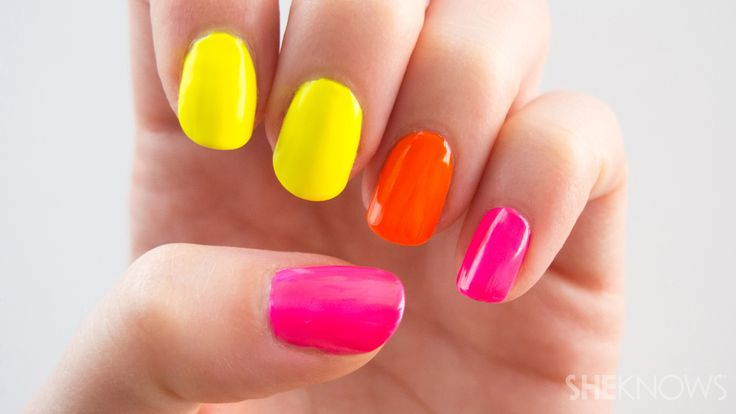 The secret to neon nail polish is to put a white base coat on!