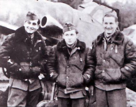 WWII Hungarian aces: Sgt. Dezso Szentgyorgyi (Top scorer with 33 victories), 2nd Lt. Jozsef Malik (11 victories) and Sgt. Lajos Krascsenics (5 victories).