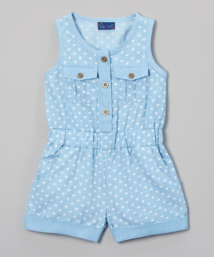 Sweet & Soft Light Blue Chambray Hearts Romper - Infant & Toddler by Sweet & Soft #zulily #zulilyfinds