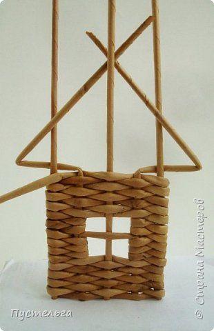 Мастер-класс Поделка изделие Плетение Домик и мельница Трубочки бумажные фото 10