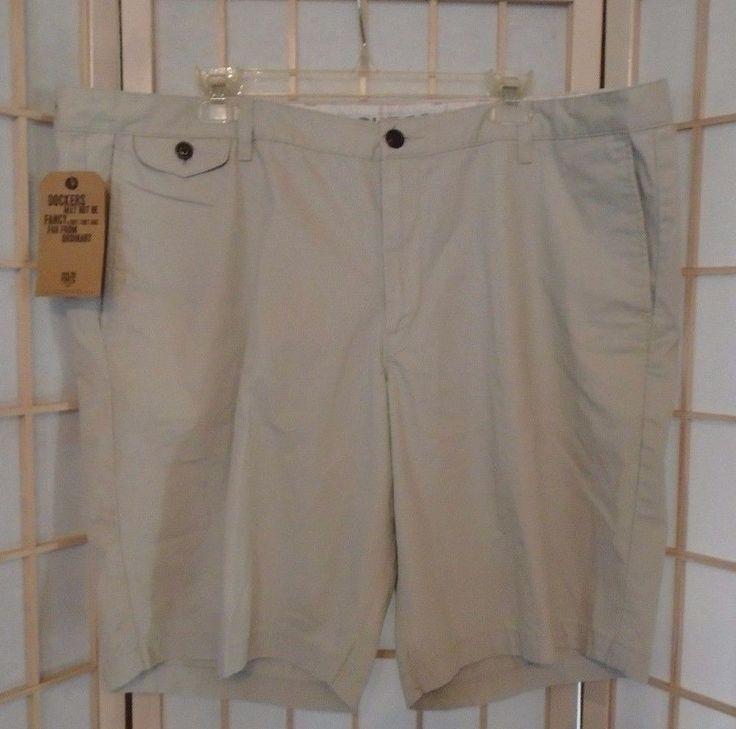 Dockers Men's Khaki Shorts Straight-Fit Flat Front Solid 100% Cotton Size 44 #DOCKERS #KhakisChinos
