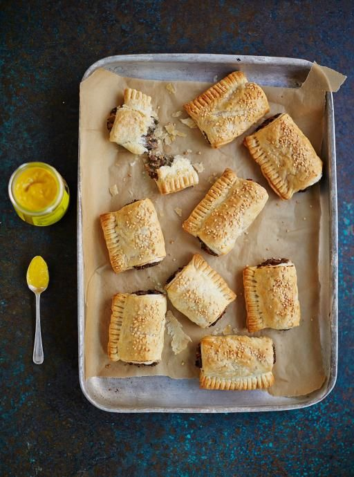 Vegan mushroom rolls Perfect finger food This is my twist on classic sausage rolls, with a herby mushroom filling surrounded by golden puff pastry