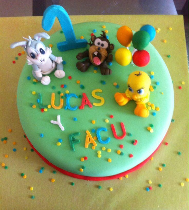 Looney tunes, torta, primer cumpleaños. Niño,1,  cake. Decoración azúcar, fondant