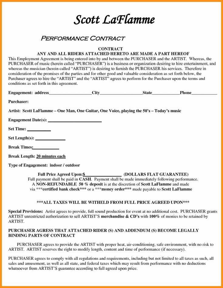Artist booking contract template unique uncle warbucks