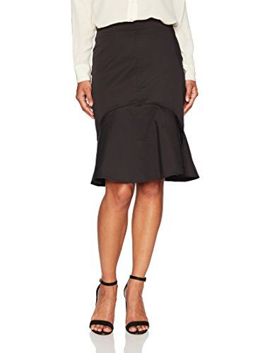 Ellen Tracy Women's Petite Flounce Hem Skirt  A fitted skirt with a feminine flounce hem  Pairs with slim-fitting tops for the office and knotted oxford shirts for label fresco saturday lunch dates