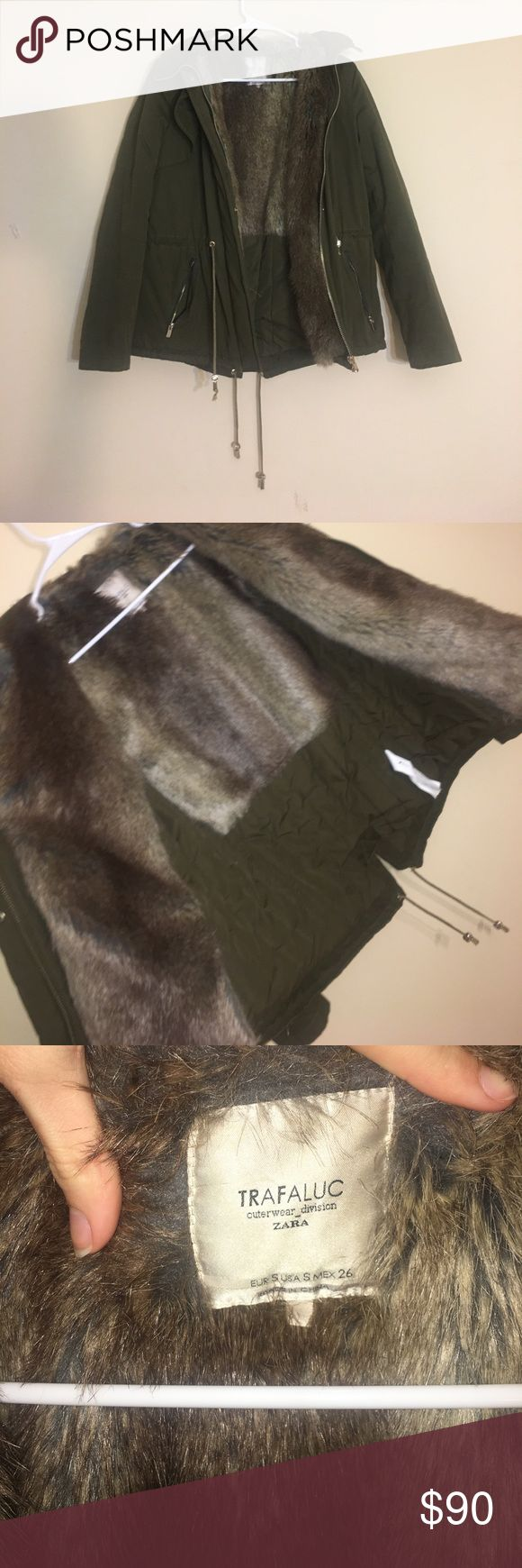 Trafaluc outerwear division zara fur jacket Solid olive green jacket with fur on the inside on the back and by the arms. Great for winter. One pocket on both sides. Zip up jacket. Size US small. Good as new! No stains or rips. Zara Jackets & Coats