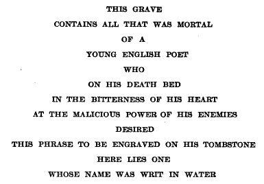 The inscription on Keats' tombstone.