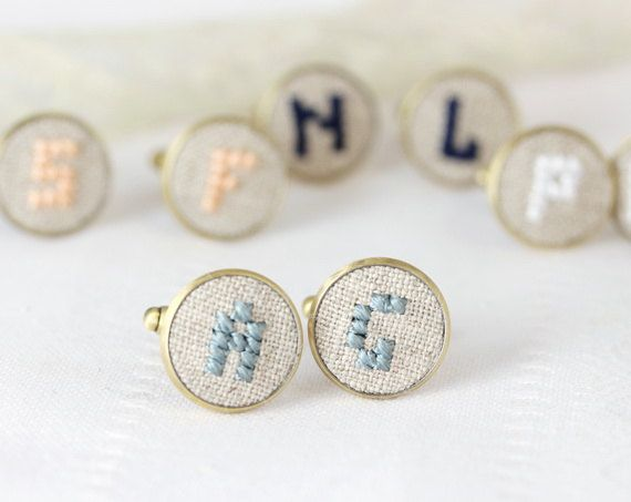 Hand embroidered initial cufflinks