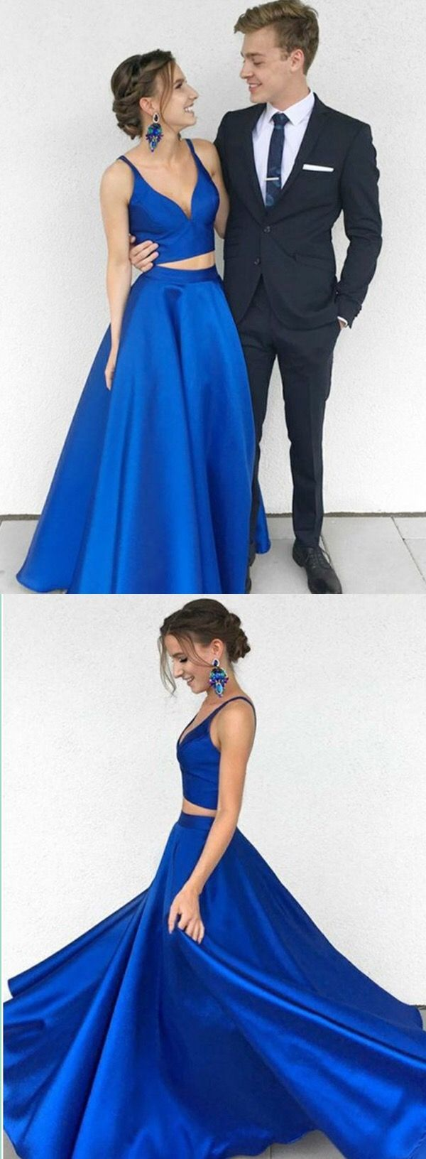 modest two piece royal blue prom dresses, elegant v neck satin party dresses, unique 2 piece evening dresses with pockets #longpromdresses