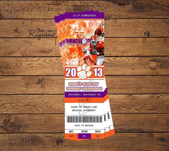 Clemson Ticket Invitation by RaynebowShoppe on Etsy, $1.00