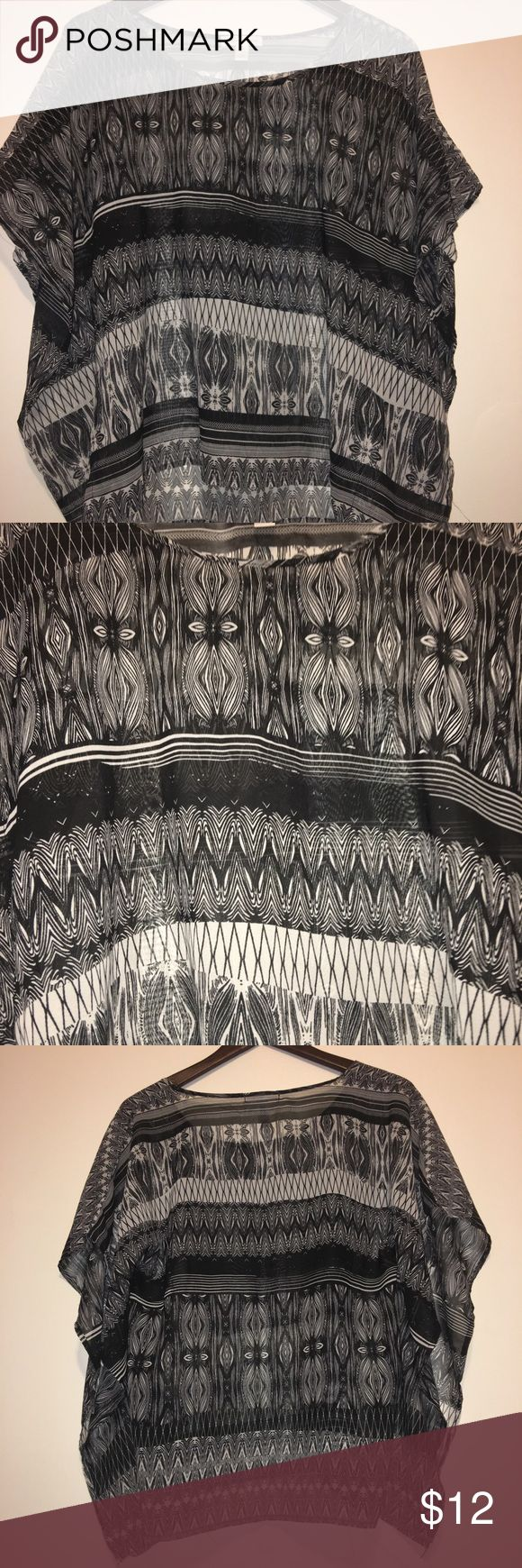 Tribal Print Batwing Blouse Black & White/Silver Tribal Print Semi-Sheer top, batwing style Crop Top, NWOT. Ambiance Apparel Tops Blouses
