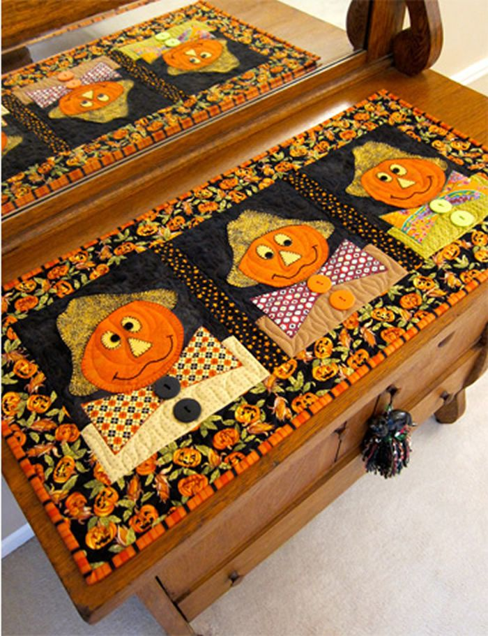 Festive Table Runner For Fall Three Scarecrows Table