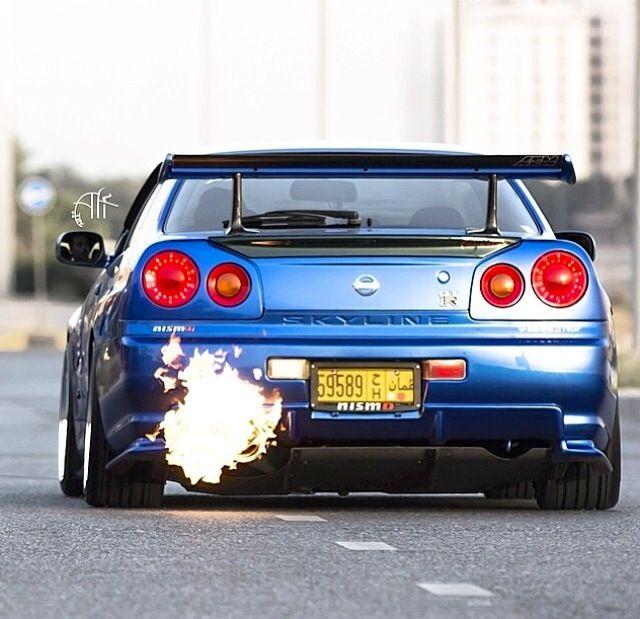 Nissan Skyline GT R Flames From Muffler