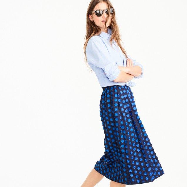 Tall midi skirt in fringe dot : Women skirts | J.Crew