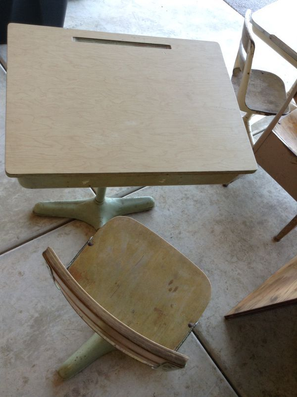 Excellent Vintage Childrens School Desk Wood Metal 1930S For Sale Short Links Chair Design For Home Short Linksinfo