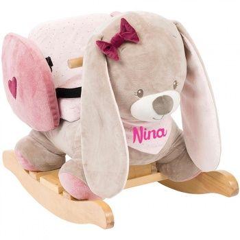 Découvrez ce Fauteuil à bascule bébé personnalisé - Nina la Lapine sur poupepoupi.com #fauteuilàbasculeenfant #chevalàbascule #chaiseàbasculeenfant