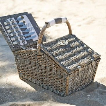 HAMPER PICNIC BASKET 4 PERSON  - FRENCH GREY/CHARCOAL Morgan & Finch