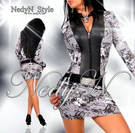 NedyN fekete fehér csipke mintás cipzáros női ruha