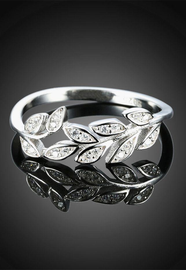 $6.08 S925 Diamond Leaf Ring - Silver