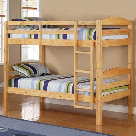 Twin Over Twin Solid Wood Bunk Bed, Multiple Colors, Beige