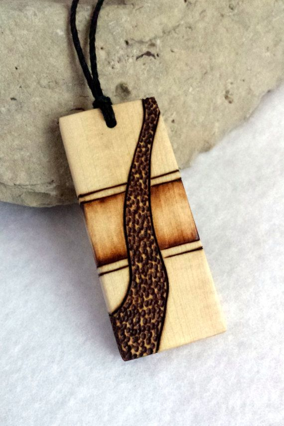 Mens design wood pendant rectangle wooden necklace hand for Made design