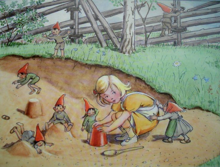 Elsa Beskow illustration of tomten and a sweet little girl
