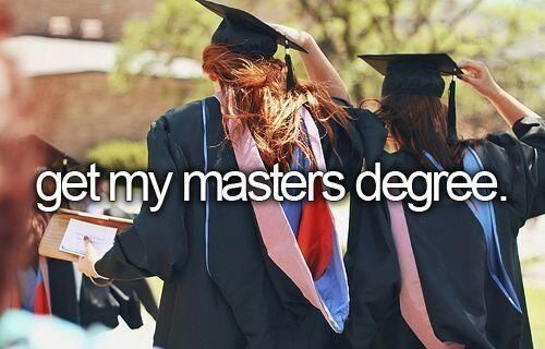 Get my masters degree  Yup..I'll be working on this in 2015/2016. I need a year break from school. LOL