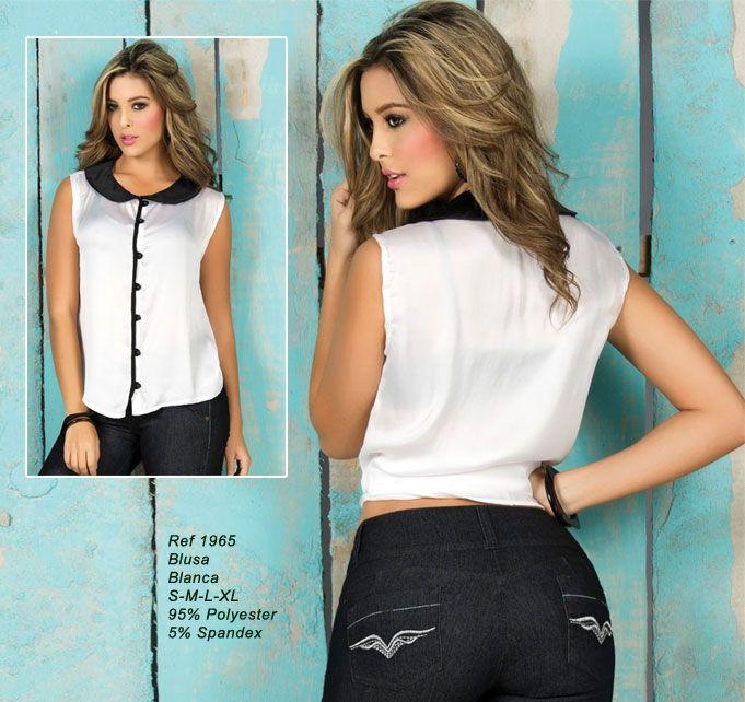 Ref. RY-1965 Colección 2012-4   Delicada blusa sin mangas con un detalle en el cuello con botónes a lo largo de la parte delantera.  Ideal para cualquier ocasión!.