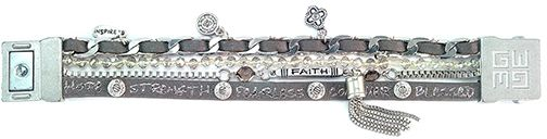 Dark Gray Leather & Crystal 'Faith' Layered Bracelet