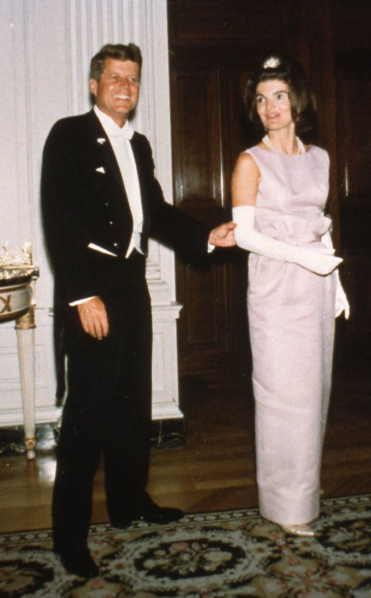 JFK & Jackie at a state dinner in honor of Her Royal Highness Grand Duchess Charlotte of Luxembourg, April 30, 1963.