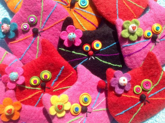 Felted Wool Cat Bags by showmealittlesign on Etsy, $15.00