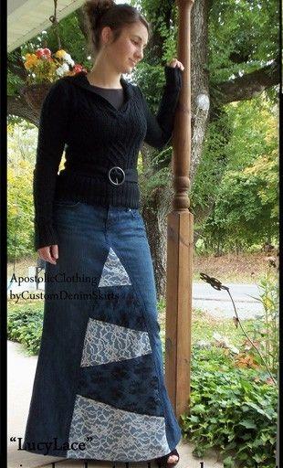 Customizable Long Denim Skirt with Patchwork Design