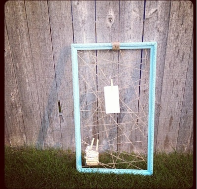 twine, clothes pins, pictures
