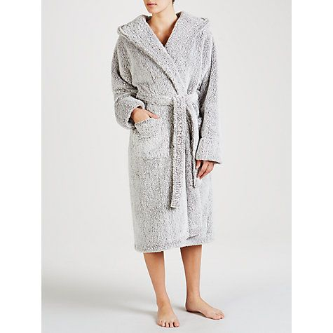 Buy John Lewis Hi Pile Fleece Robe, Grey Online at johnlewis.com