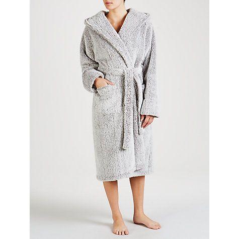Buy John Lewis Hi Pile Fleece Robe, Grey Online at johnlewis.com