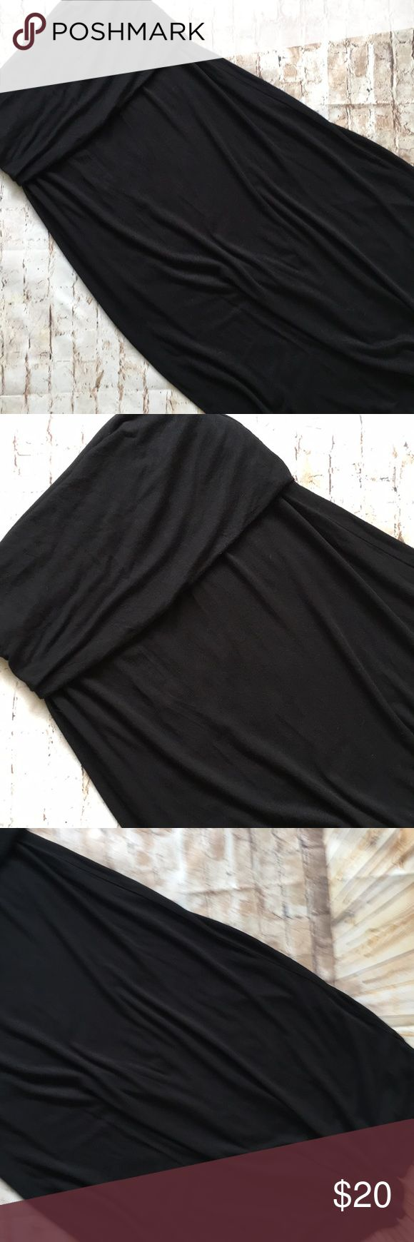 """Cotton Therapy Black Maxi Skirt Great condition Super cute  Maxi size Medium  41"""" long  14"""" stretchy waist  Adjustable band Flat measurements No rips tears or stains  Non smoking environment💕 Cotton Therapy Skirts Maxi"""