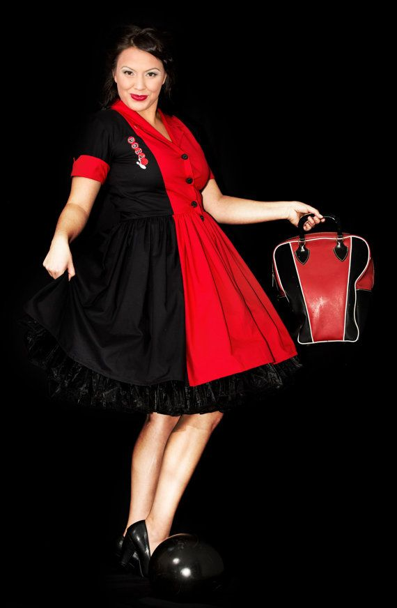 Rockabilly Pinup Pin Up Pin-up Retro Bowling Shirt Dress Red Black with Bowl Applique Custom Size Made to Measure including Plus Sizes