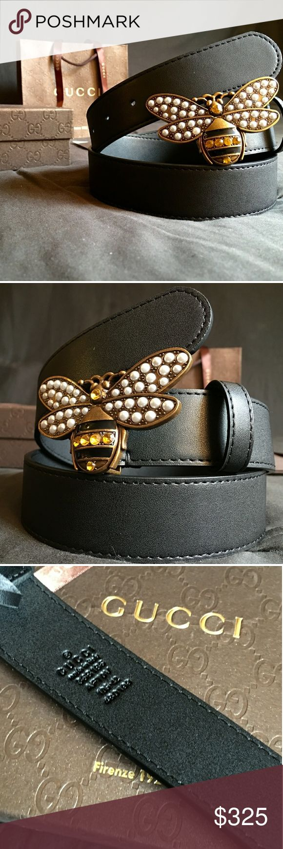"""Gucci Bee Belt!!! Gucci Bee Belt W/Pearl & Antique Brass Buckle!!!  Brand New!!!  Size Available - 30"""" - 32""""!!!  Includes Gucci Belt, Gift Box, Dust Bag, Ribbon, Etc!!!  Great Gift Idea!!!  Last Available!!!  Check My Listings For Other Great Items!!!               Ignore: Gucci gg monogram casual dress belts men's women's guccissma leather monogram web tiger bee embossed panther wool cable knit blooms supreme print angry cat ufo dragon studded snake double g Gucci Accessories Belts"""
