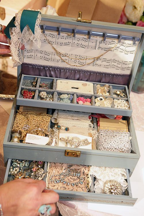 I love the idea of storing my pretty pieces and embellishments in old jewelry boxes like this Pretty lace storage display