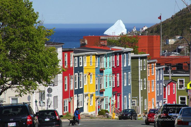 Jellybean Row House, nl red yellow colorful photography, ocean,iceberg,St. John's, newfoundland art, June 20,2013 iceberg by DreamsandNotions on Etsy