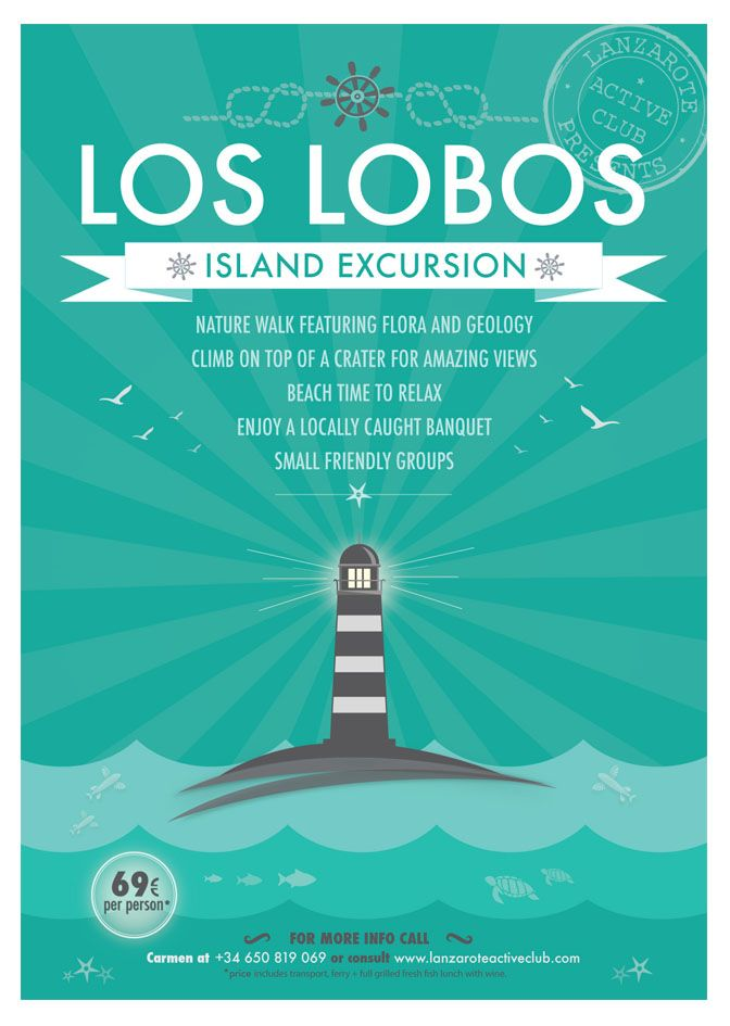 A3 poster - Los Lobos excursion - The fifth poster in a series with a design a little vintage, made for LAC. #lilymedicidesign #graphicwork #ilovemywork #creative #design #lanzarote #island #excursions
