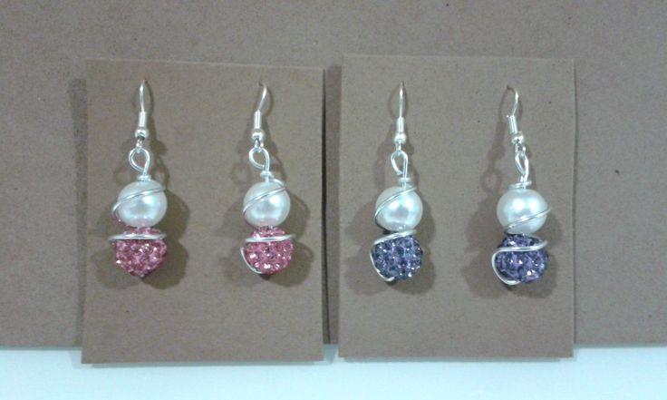 Pendientes perla y bolas circonitas