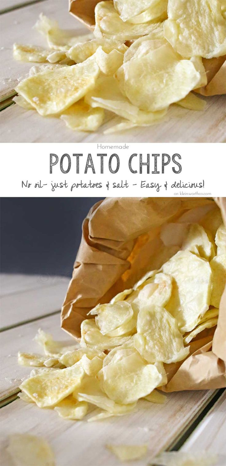 These Homemade Potato Chips are so easy to make. Just potatoes, salt & your microwave is all you need. No oil, better for you, simple & so delicious too. on kleinworthco.com #BeholdPotatoes AD @potatogoodness: