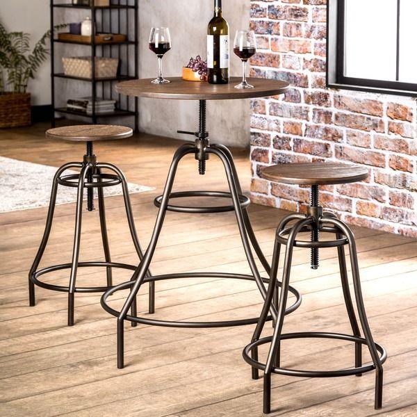 Furniture of America Gorgia 3-Piece Industrial Style Bar Set