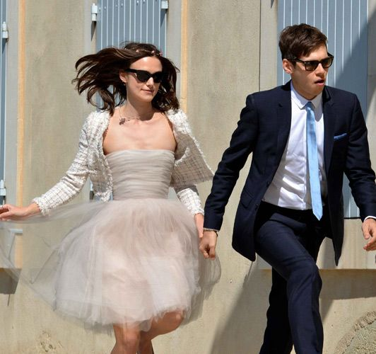 Celebrity Brides Who Didn't Wear White; Keira Knightley wore a blush pink wedding gown by Chanel.