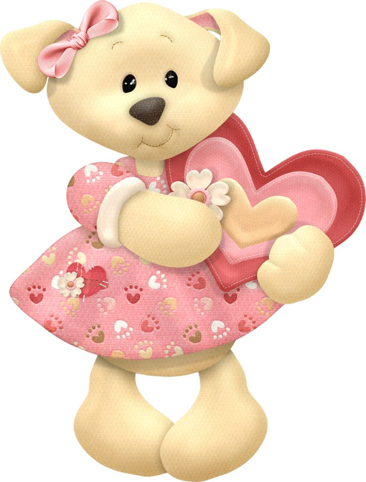 GIRL PUPPY WITH HEART CLIP ART